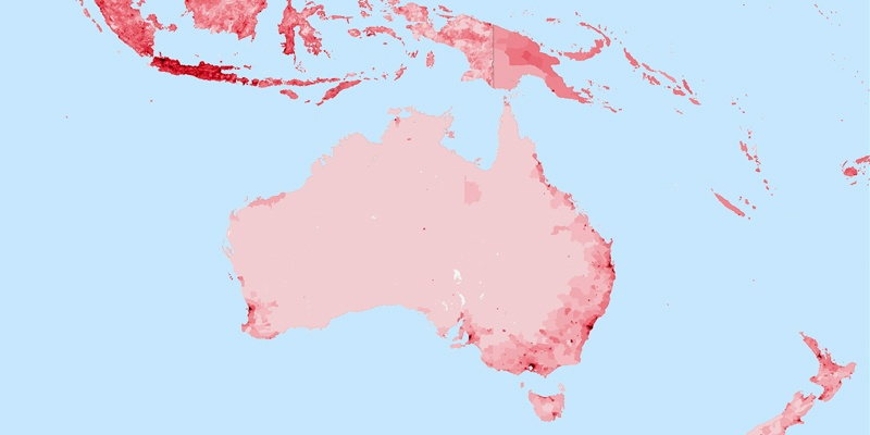 Australia Population - Australia population density map 2015